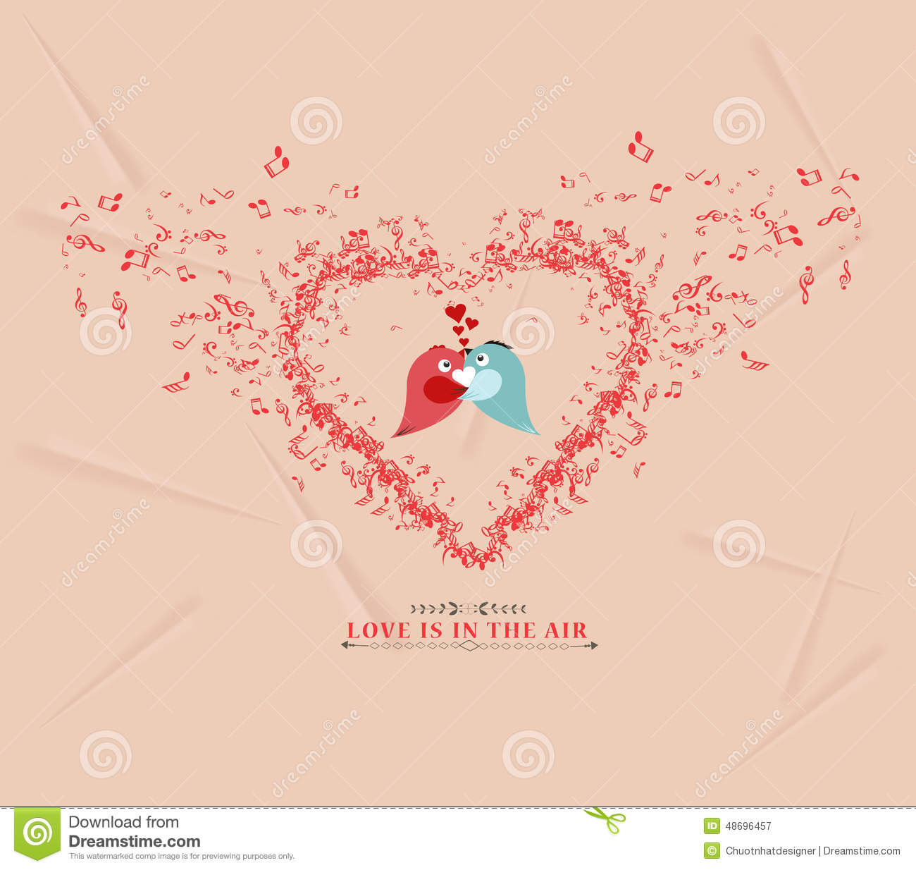 Valentines Day Music Elementsand Couple Bird Greeting Card