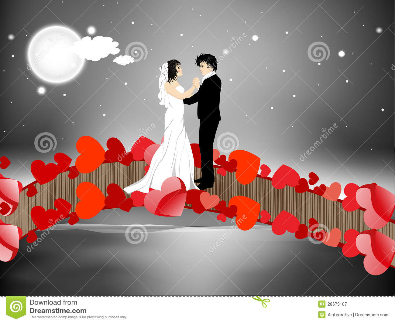 Valentines Day Night Background With Newly Married Couple ...