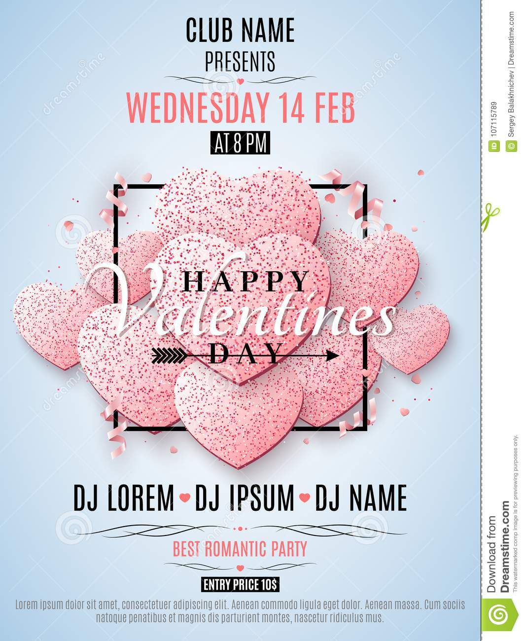 Valentines Day Party Flyer Pink Hearts Of Glitters In A Black Frame