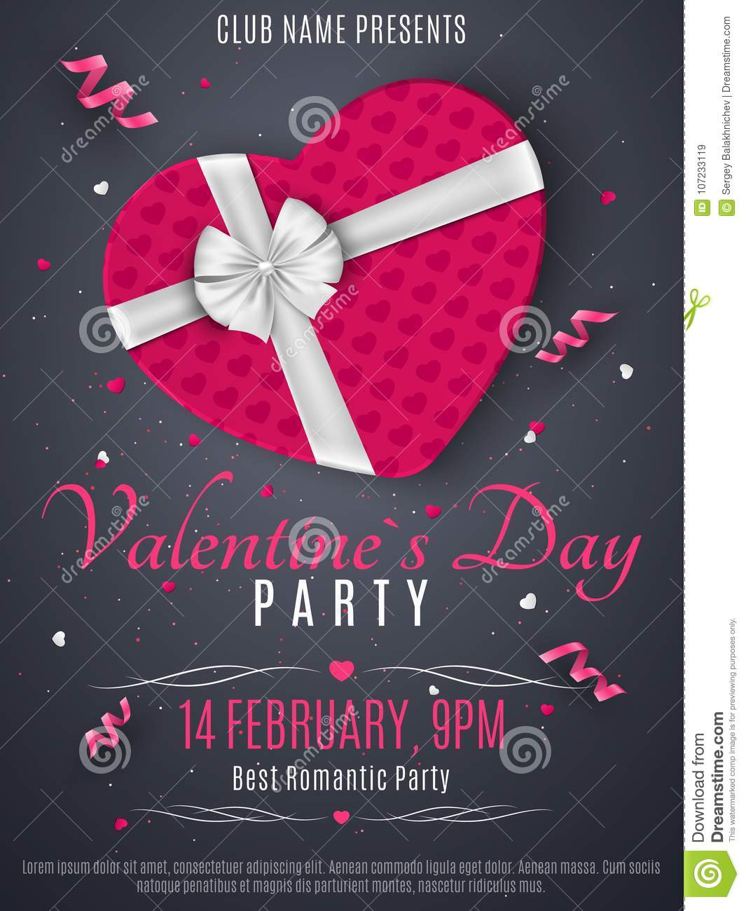 Valentines Day Party Flyer Purple Box From The Heart And A White