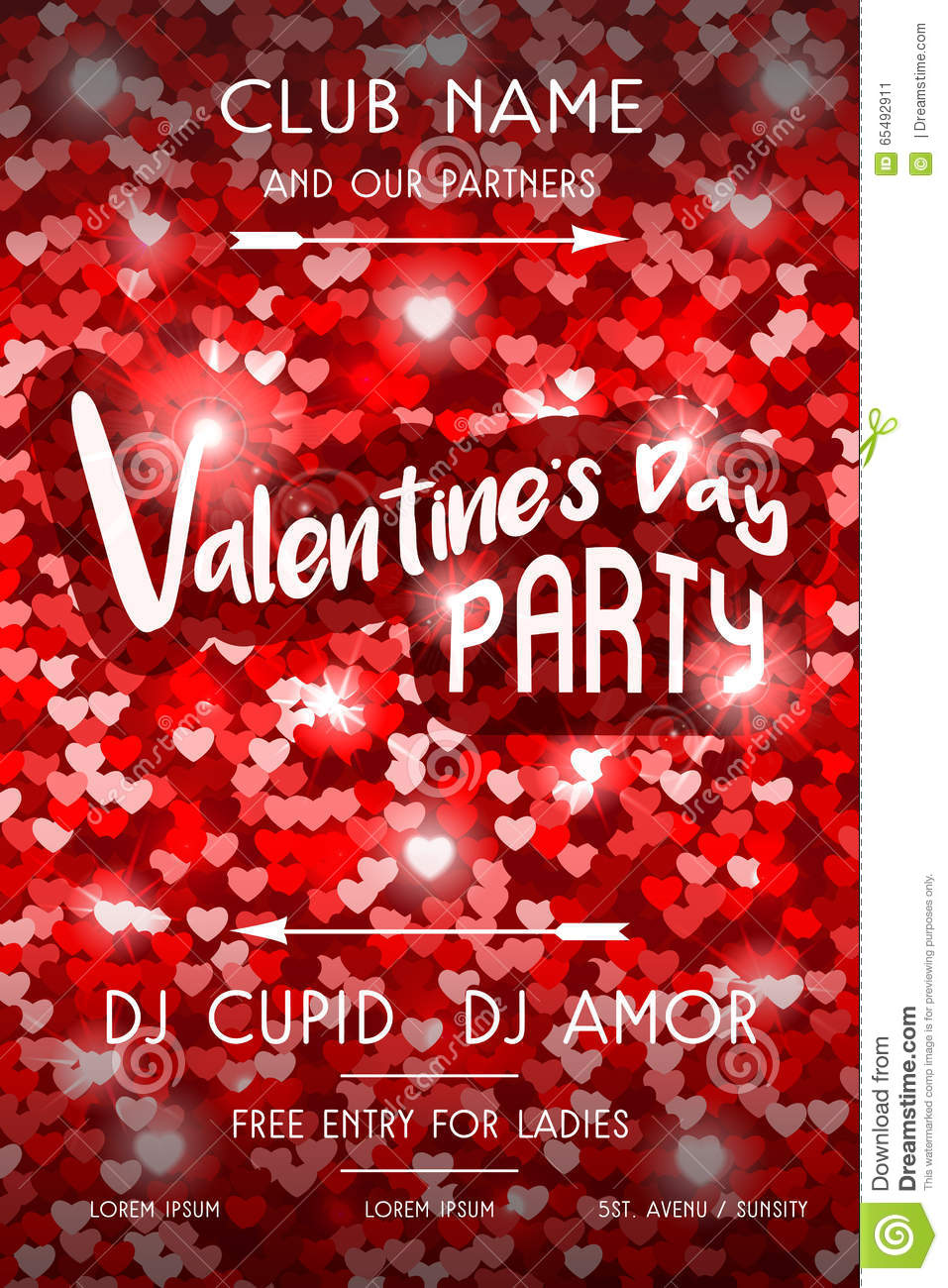Valentines Day Party Flyer stock vector. Image of arrows - 65492911
