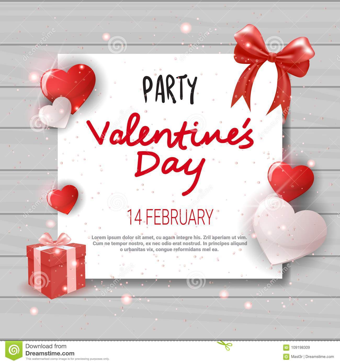 Valentines Day Party Invitation Template Flyer Design Love Holiday - Valentine's day invitation template