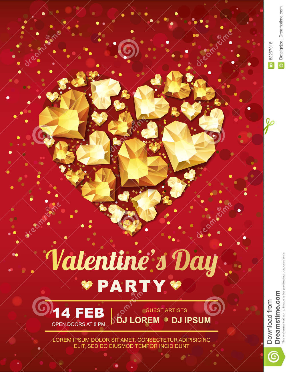 Valentines Day Party Poster Design Template Gold Gem Heart On Red