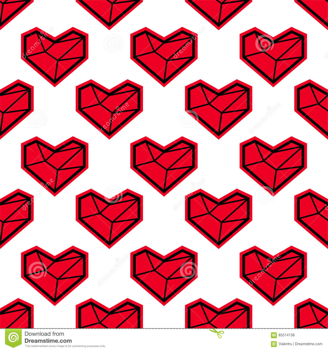 Valentines Day Pattern With Heart Geometric Style Stock Vector