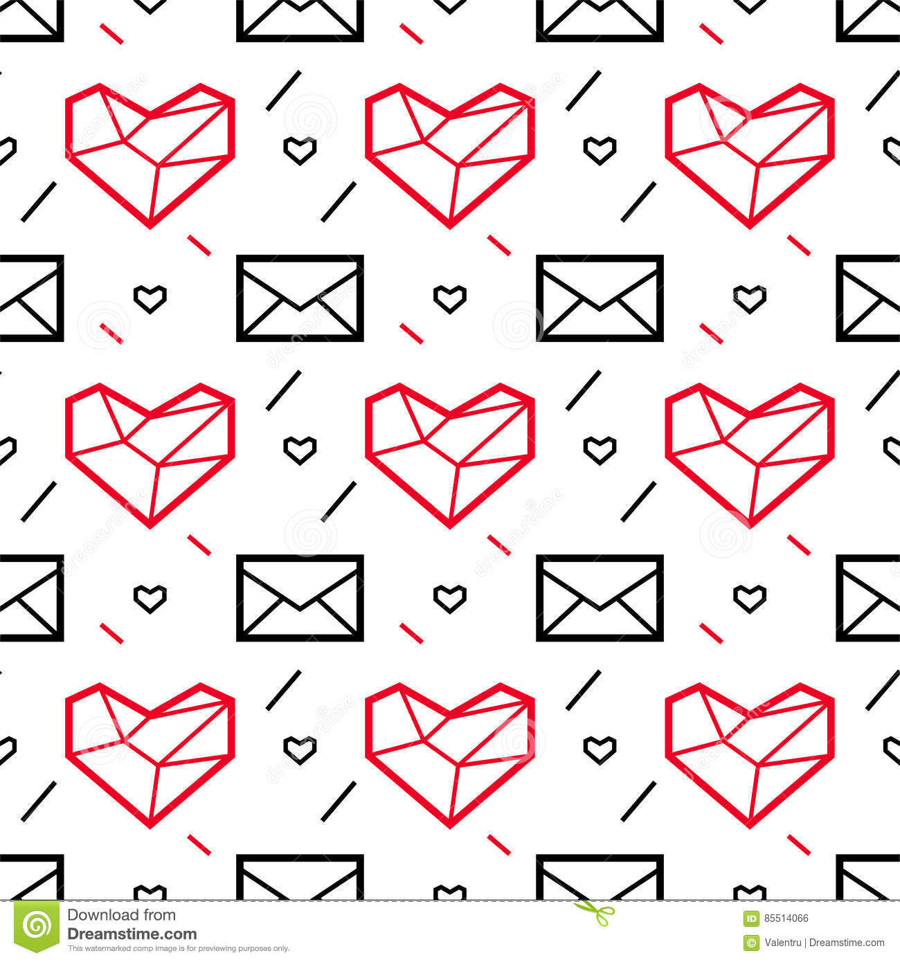 Valentines Day Pattern With Heart And Letter Geometric Style Stock