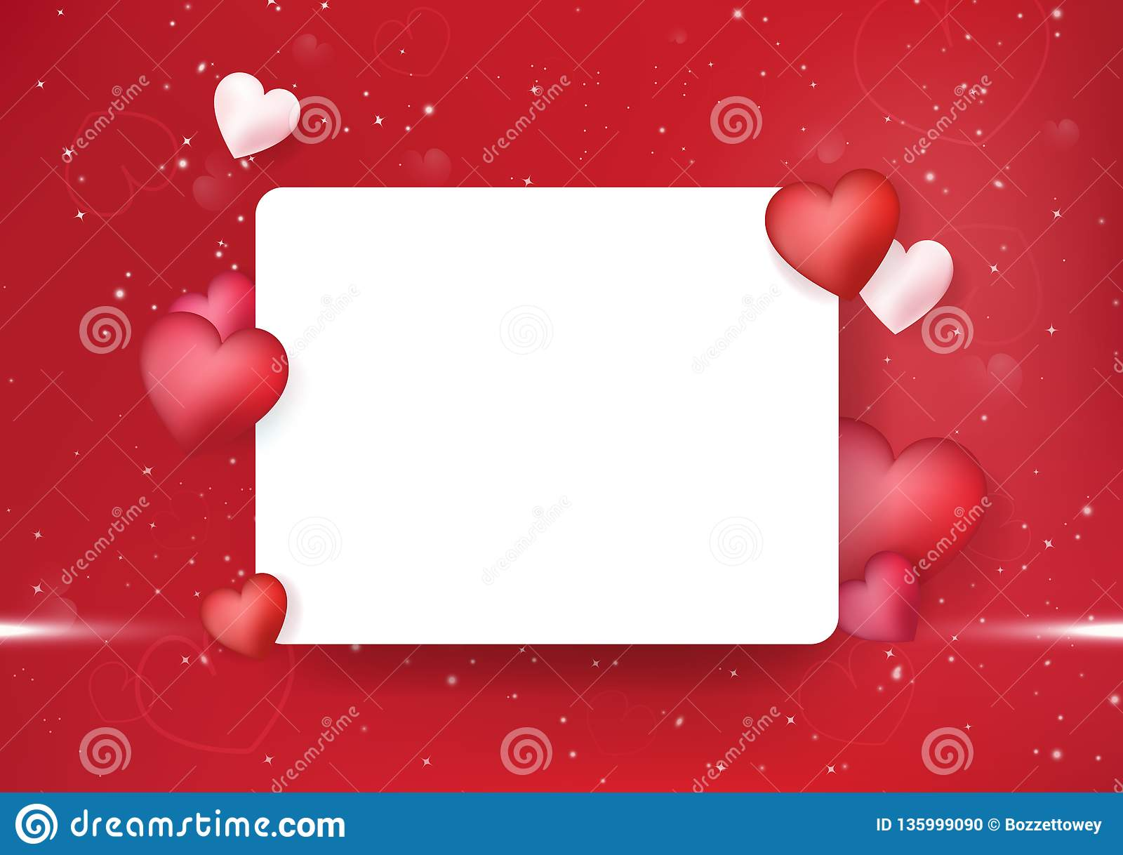 Valentines day postcard, invitation heart, decoration festive holiday luxury abstract background vector illustration