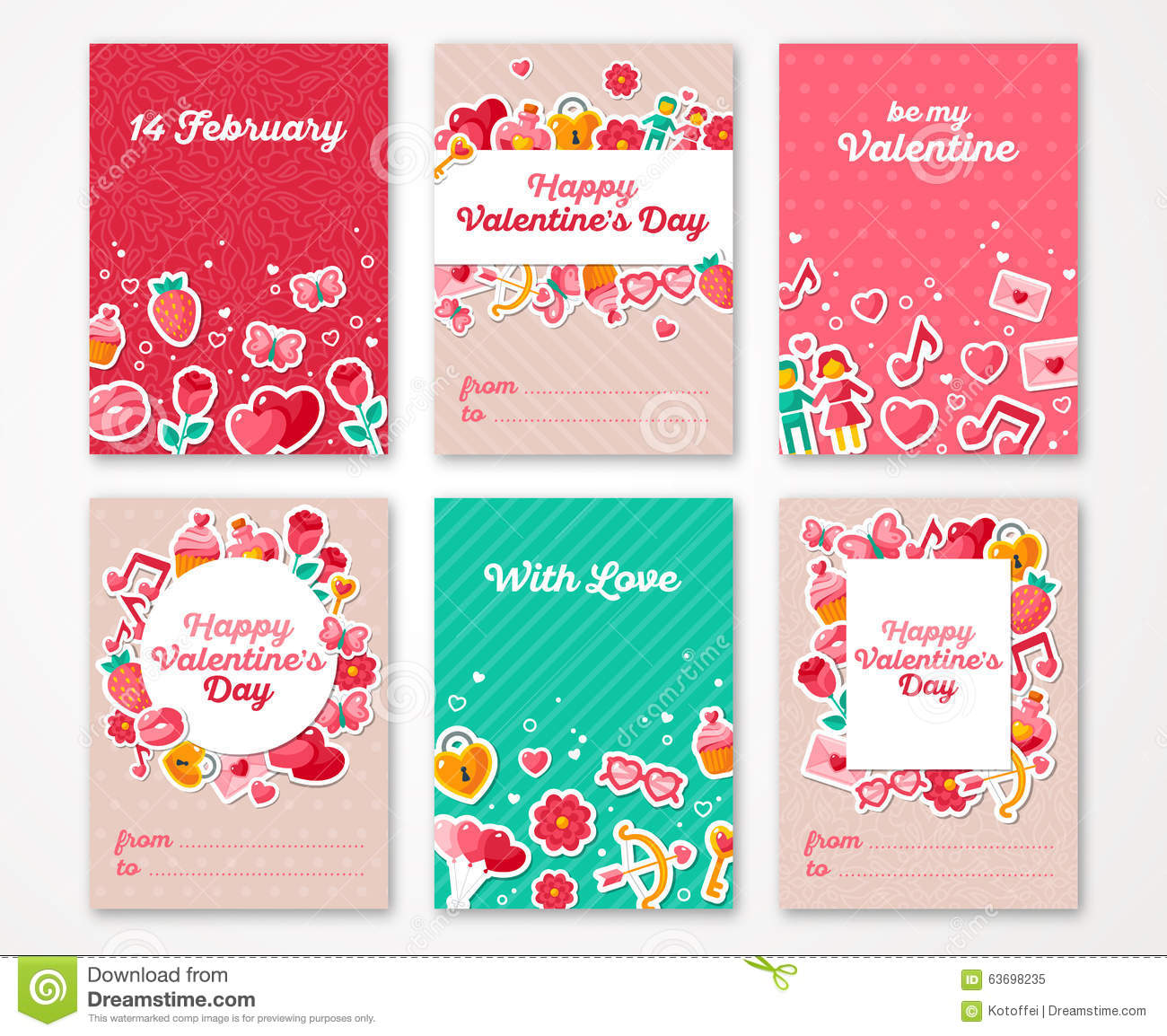 Valentines Day Poster Banner Greeting Card Stock Vector