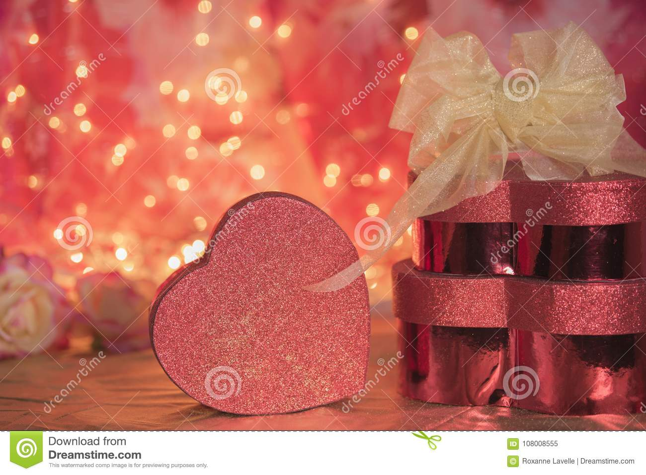 Valentines Day Presents Heart Boxes Love Red Glitter Stock Image