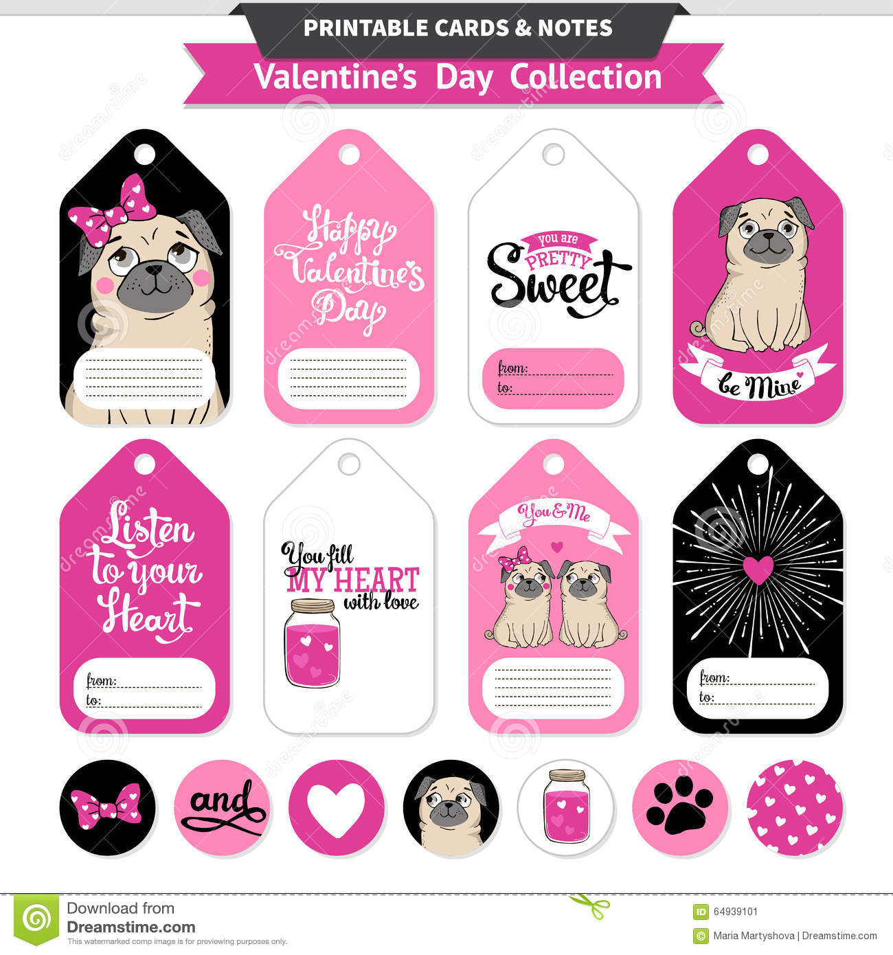 photo relating to Happy Valentines Day Banner Printable named Valentines Working day Printable Established Wih Humorous Pugs. Inventory Vector