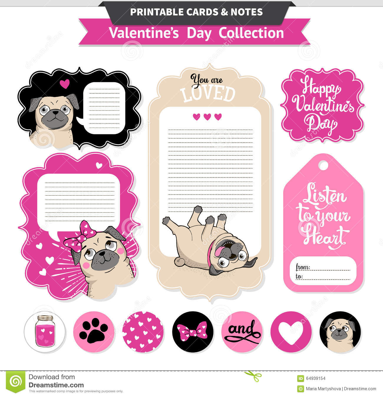Valentines Day Printable Set Wih Funny Pugs. Stock Vector ...