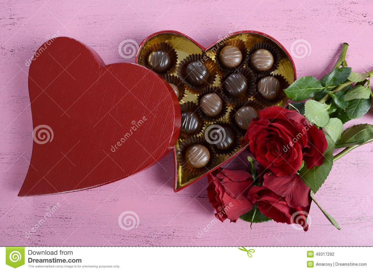 Valentines Day Red Heart Shape Gift Box Of Chocolates Stock Photo
