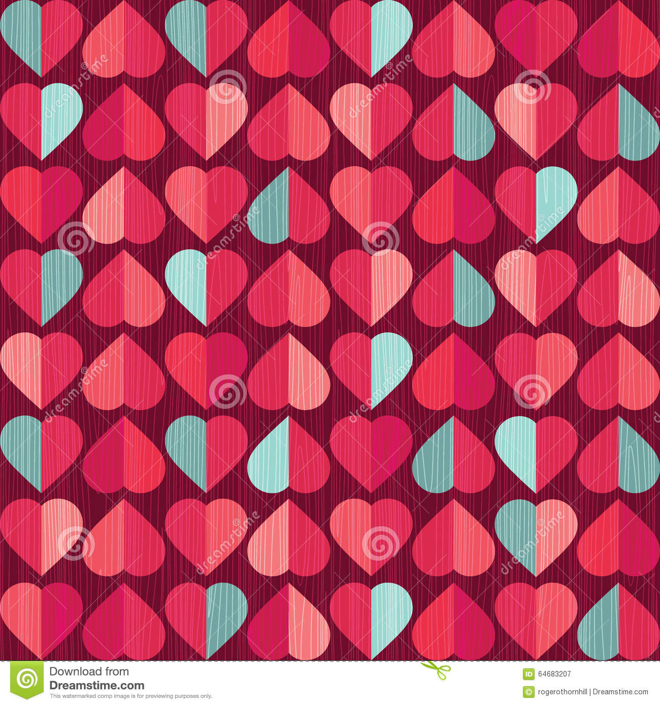 Valentines Day Retro Heart Pattern Stock Vector Image