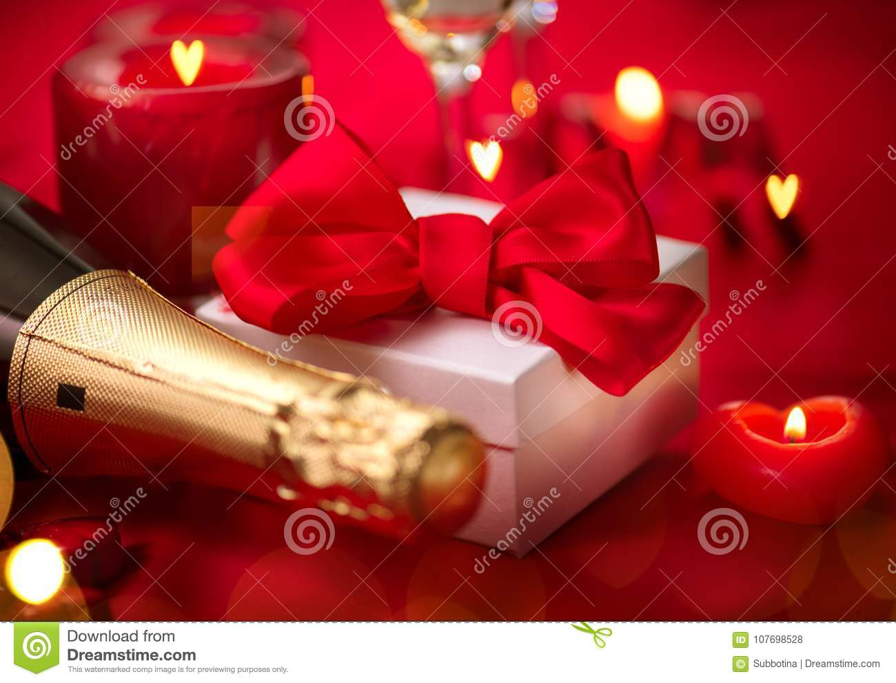 Valentines Day Romantic Dinner Date Champagne Candles And Gift