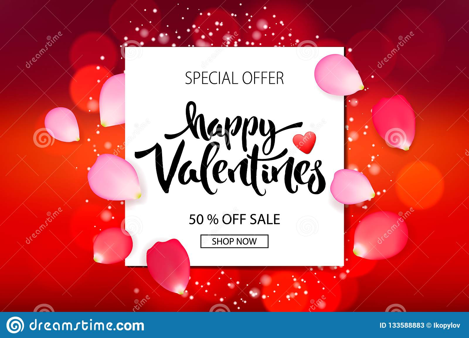 Valentines Day Sale Background With Roses Petals Vector