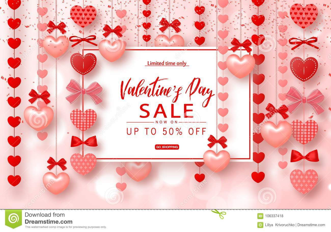 Valentines Day Sale Banner Beautiful Background With Hearts Vector