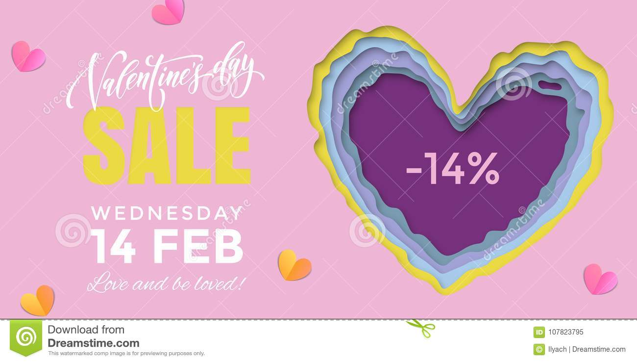 c3bb5c1ce1e66 Valentines Day Sale Banner Design Template Of Heart Papercard On ...