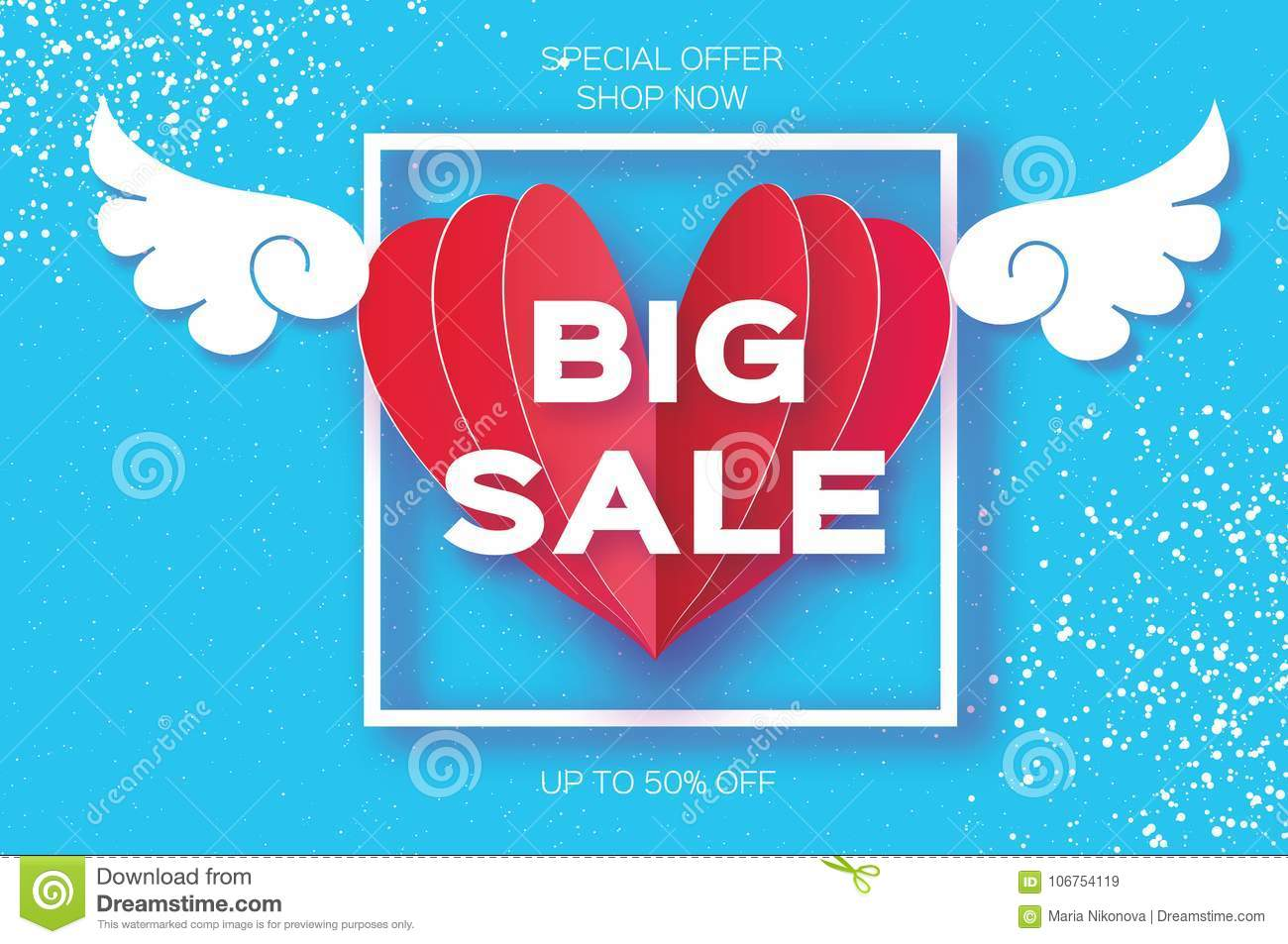 Valentines Day Sale Offer, Banner Template. Big Sale. Origami Angel ...