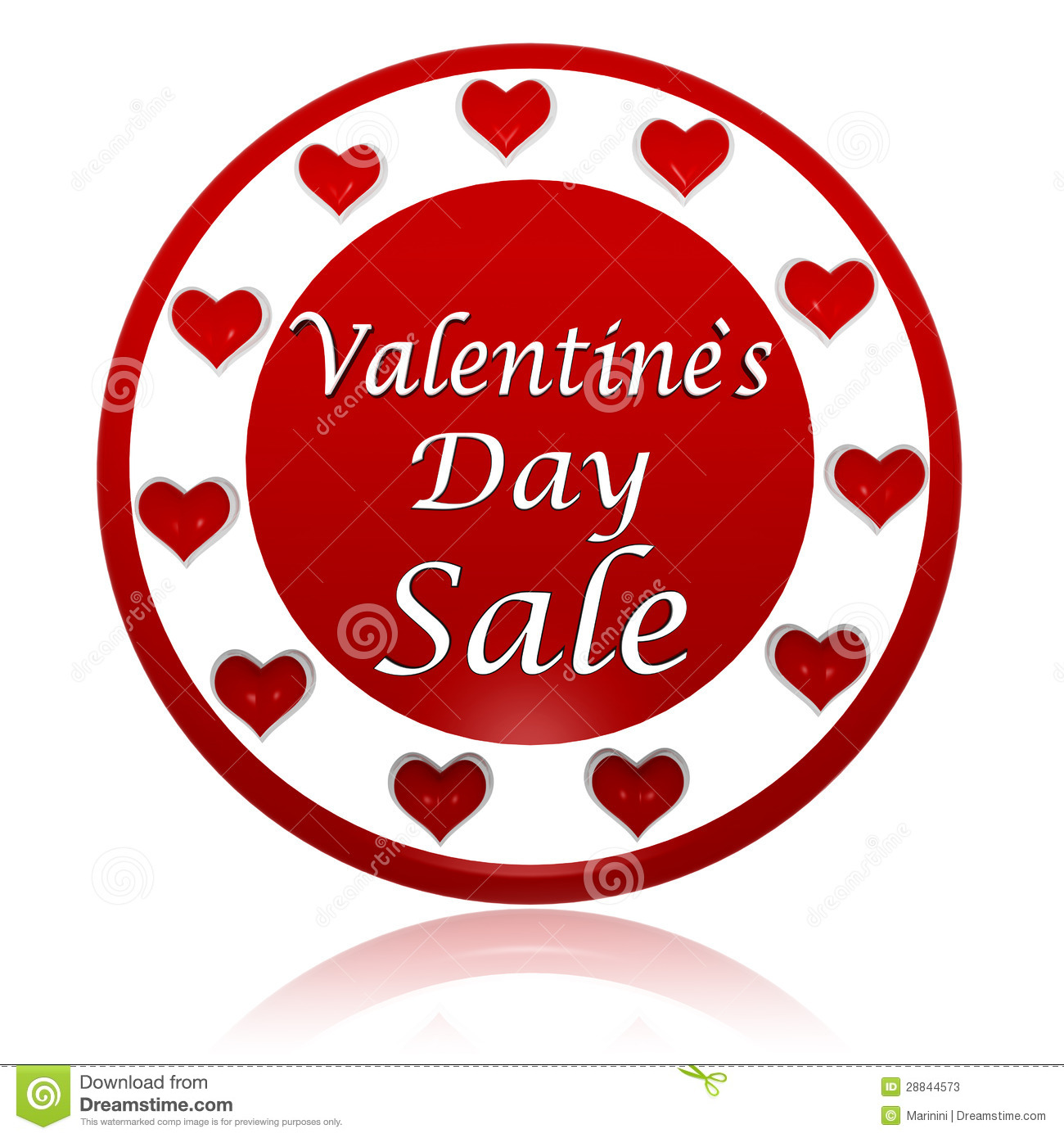 Schön Valentines Day Sale Red Circle Banner With Hearts Symbols