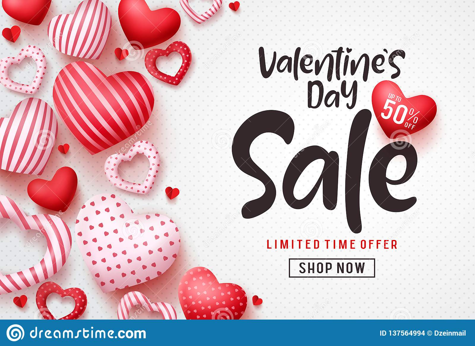 Valentines day sale vector banner template. Valentines day sale discount text