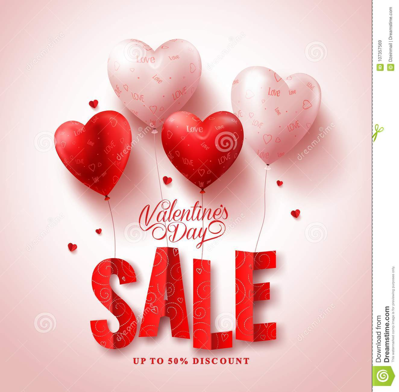 Valentines day sale vector design with red heart shape balloons in white background