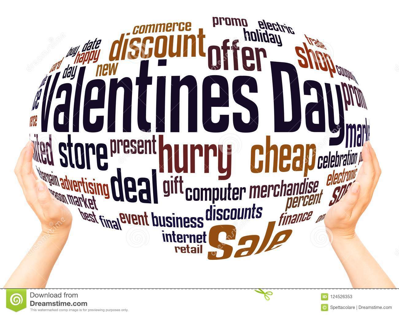 Valentines day sale word hand sphere cloud concept