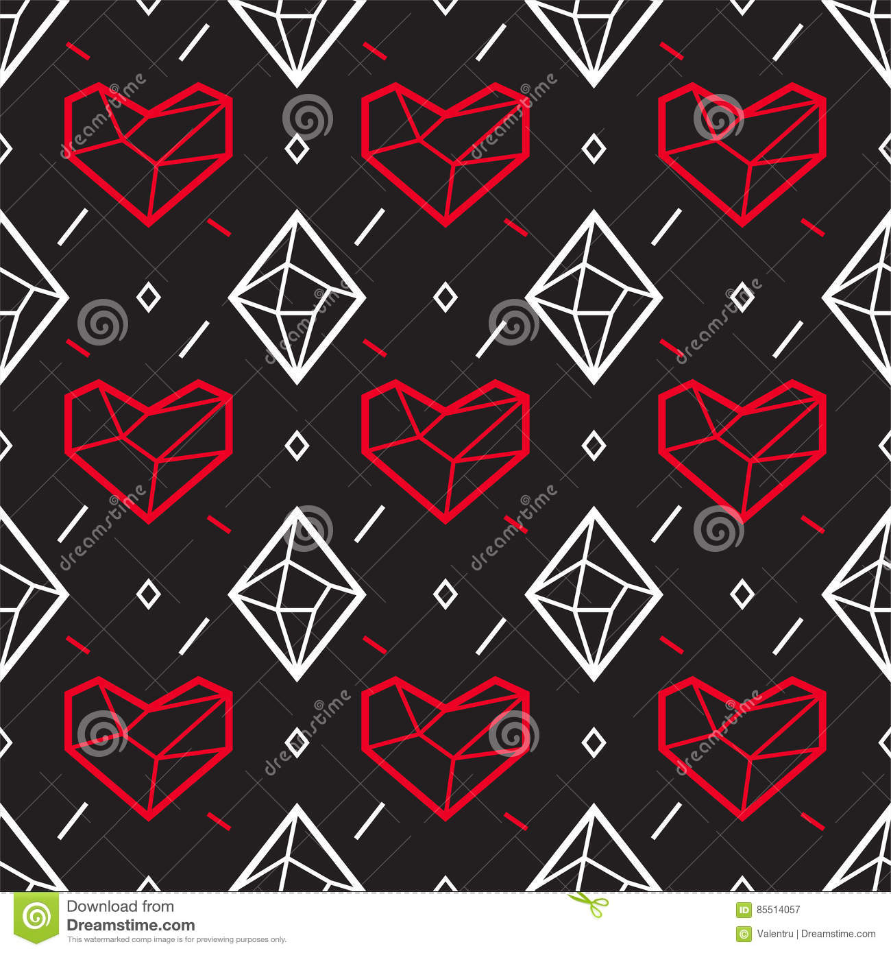 Valentines Day Seamless Pattern With Heart And Diamond ...  |Diamond Trellis Pattern Red Heart