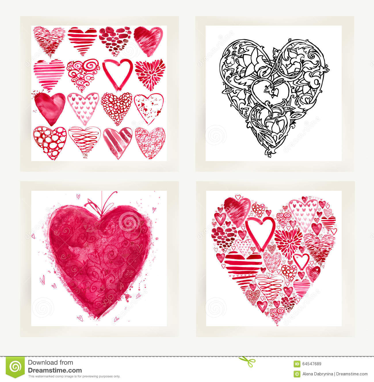 Valentines Day Set For Holiday Greeting Cards Stock Illustration