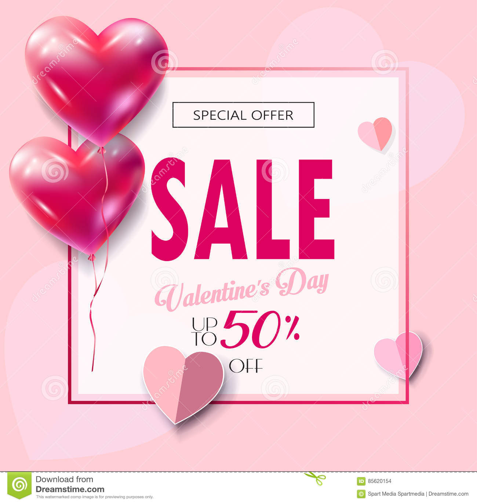 Valentines Day sale banner paper cut
