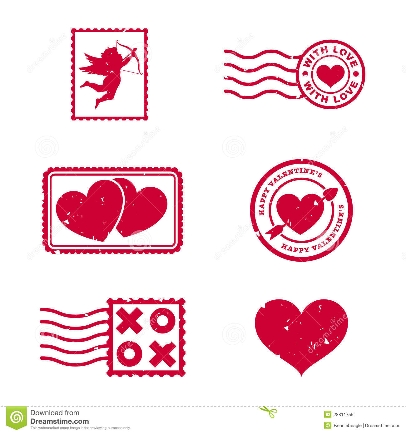 Valentines Day Stamps Royalty Free Stock Photo - Image: 28811755