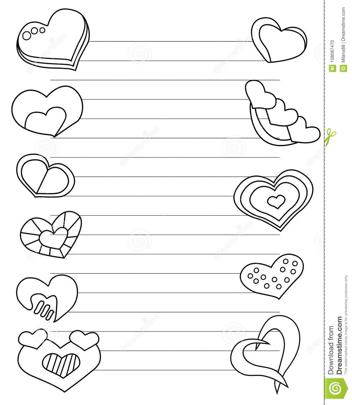valentines day stylized sheet of paper with hearts and lines for
