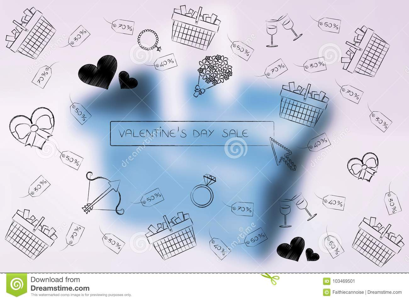 Valentines Day Symbols And Search Bar With Sales Price Tags And