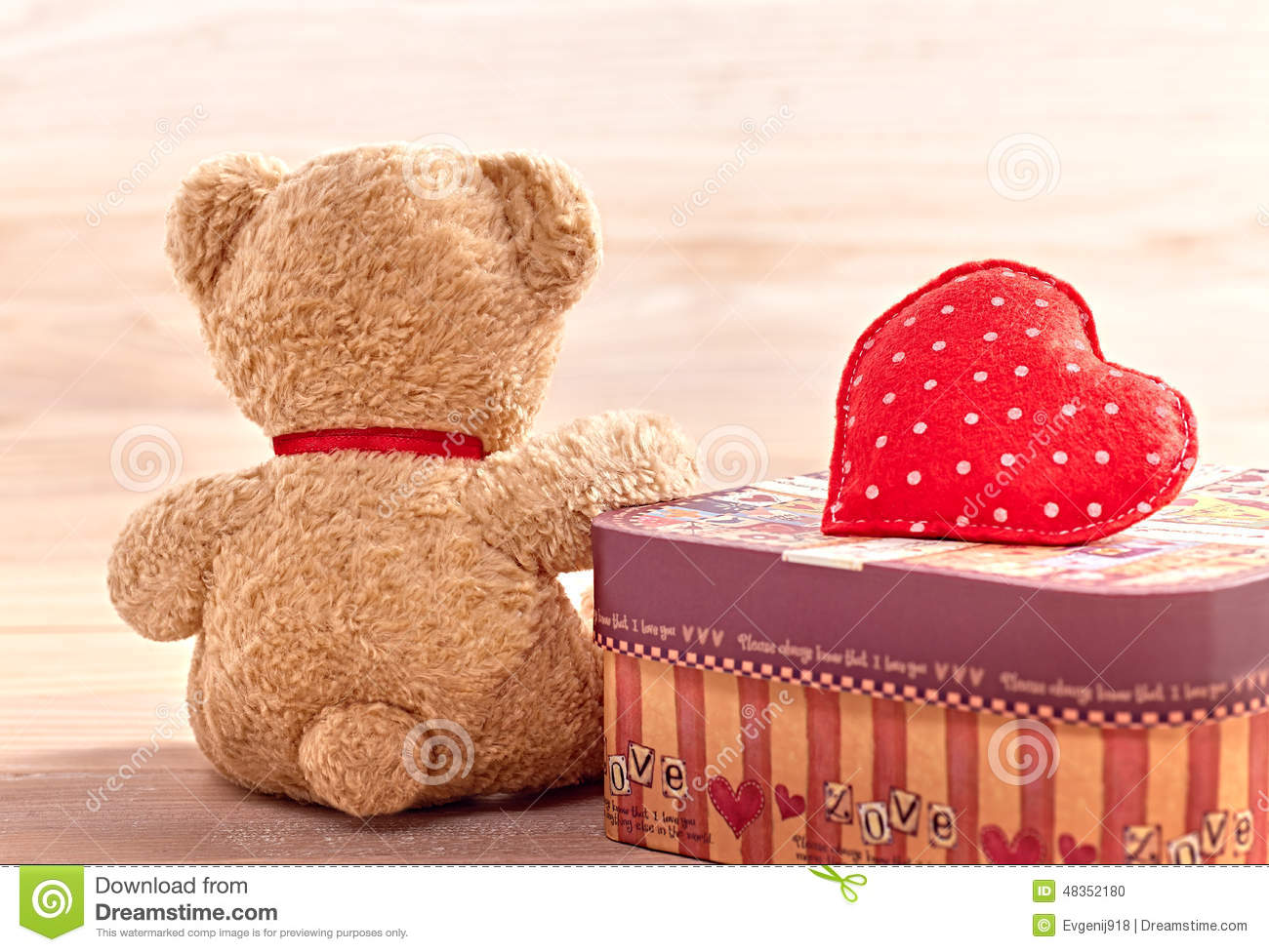 Valentines Day Teddy Bear Love Alone Waiting Stock Photo Image