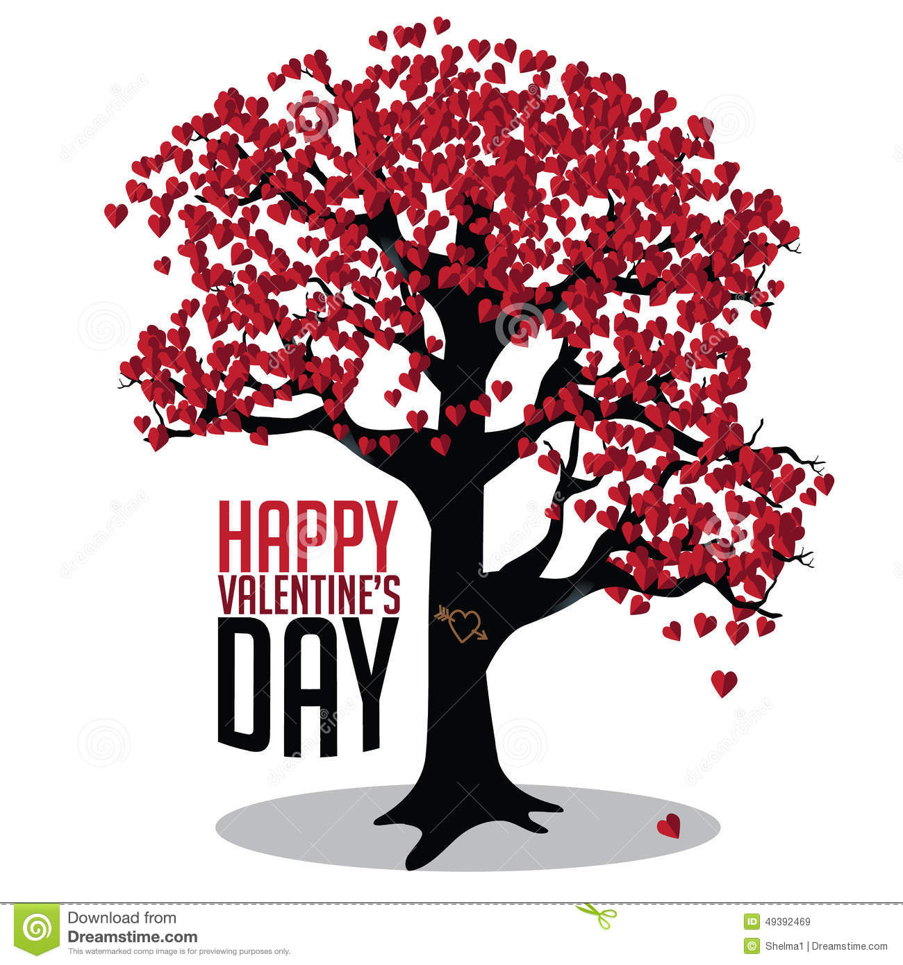 Valentines Day Tree Of Hearts Card Stock Vector Illustration Of