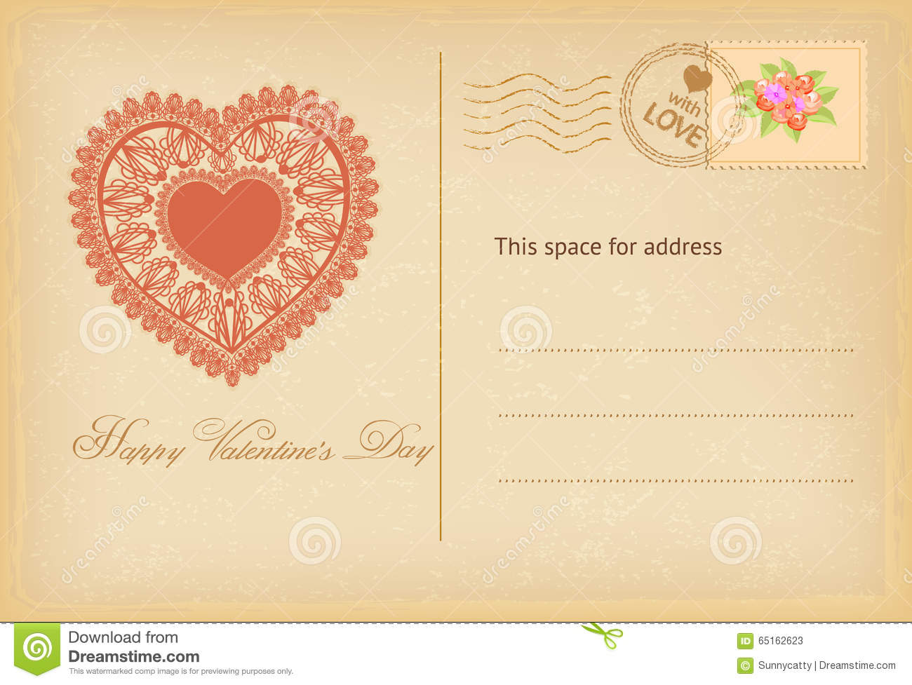 Valentines Day Vintage Postcard With Lace Heart Vector – Valentines Day Post Card