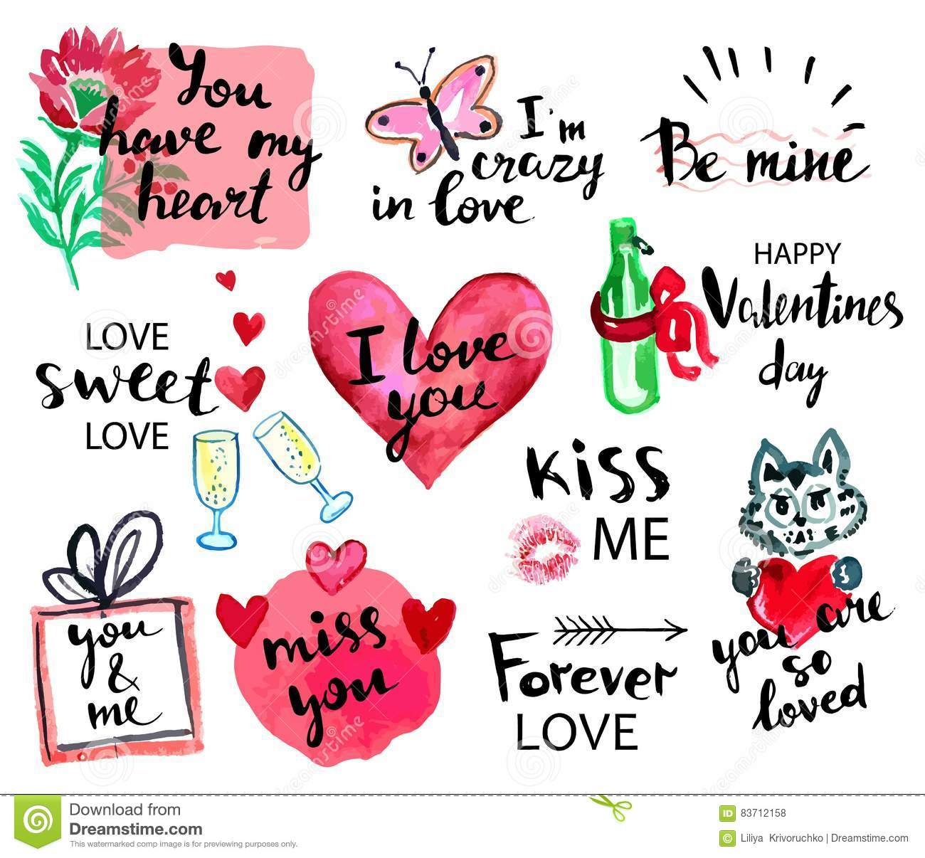 Valentines Day Watercolor Hand Drawn Design Elements With Calligraphy Handwritten Modern Lettering Flower Cat