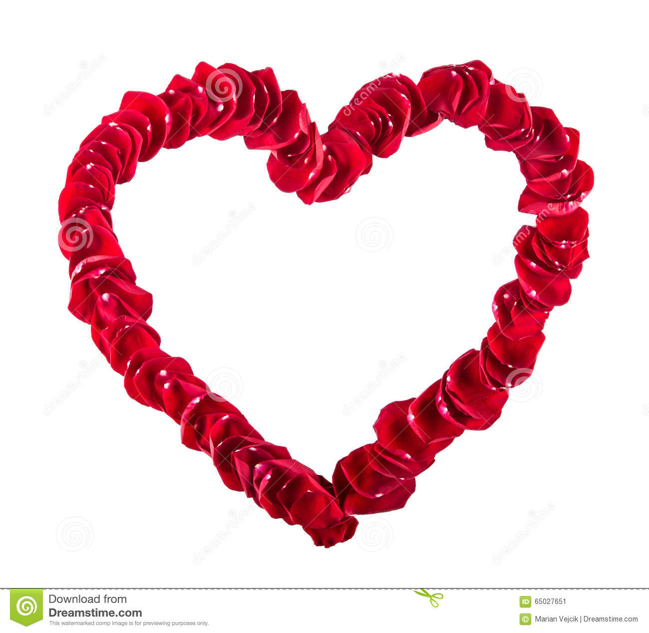 Valentines Day Wedding Day Beautiful Heart Of Red Rose Petals