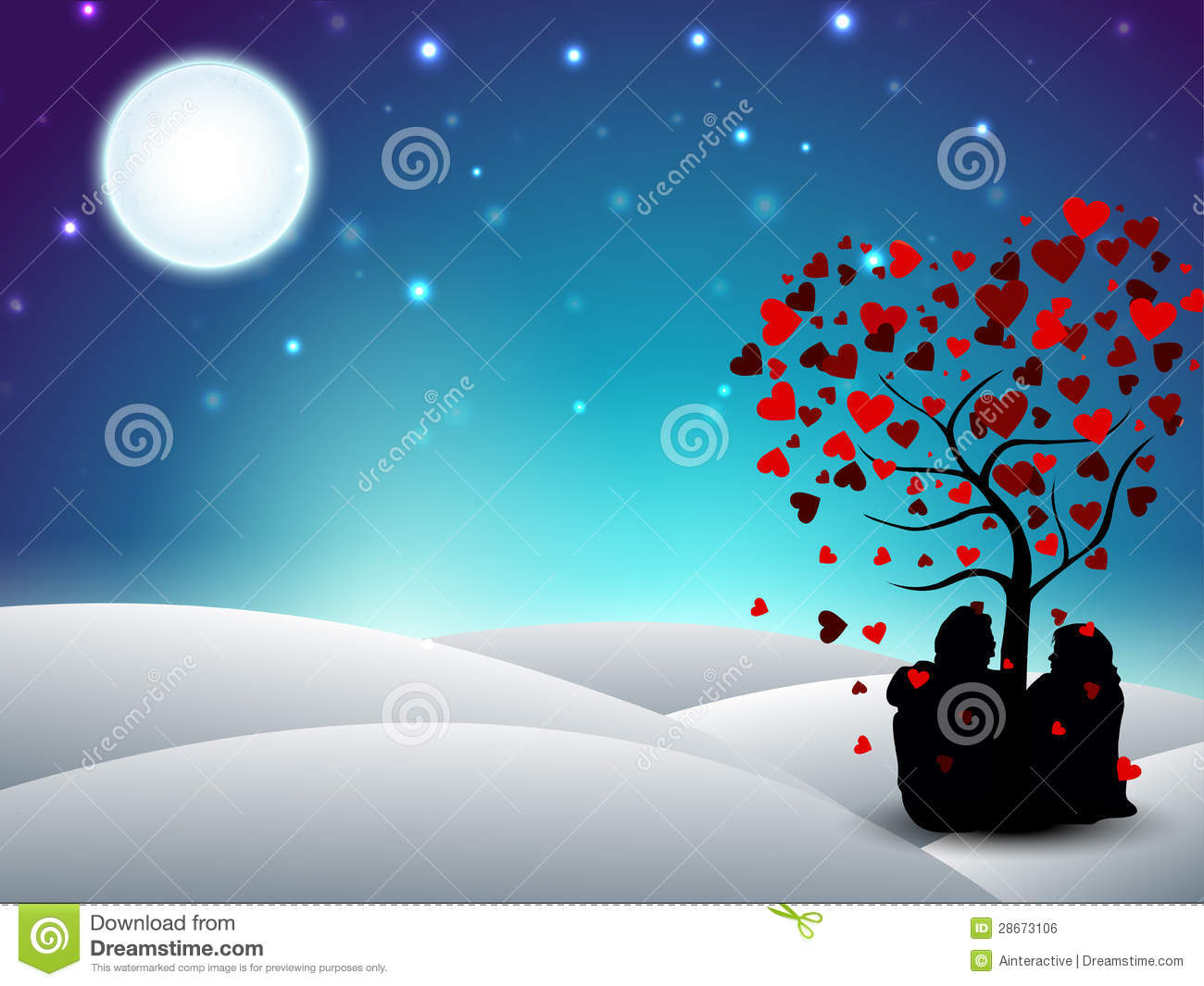 Valentines Day Winter Background With Sitting Couple