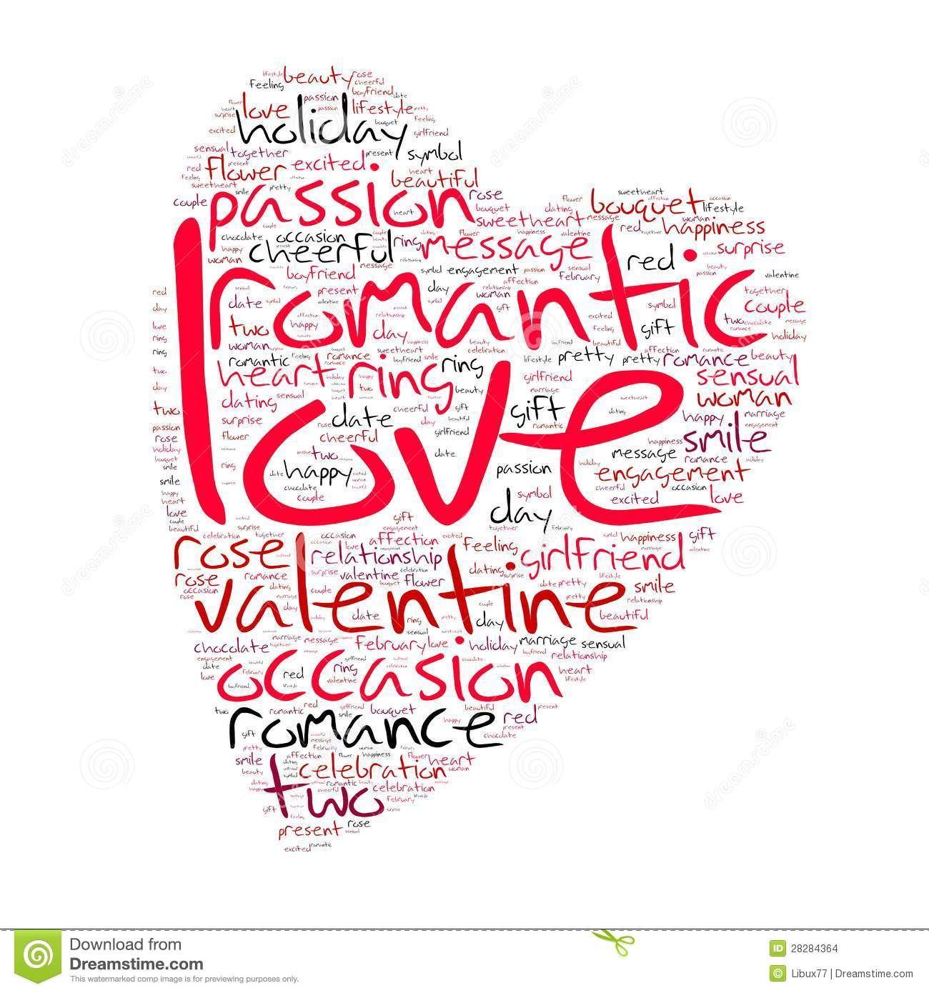 Valentines Day Word Cloud Heart Shaped Stock Illustration