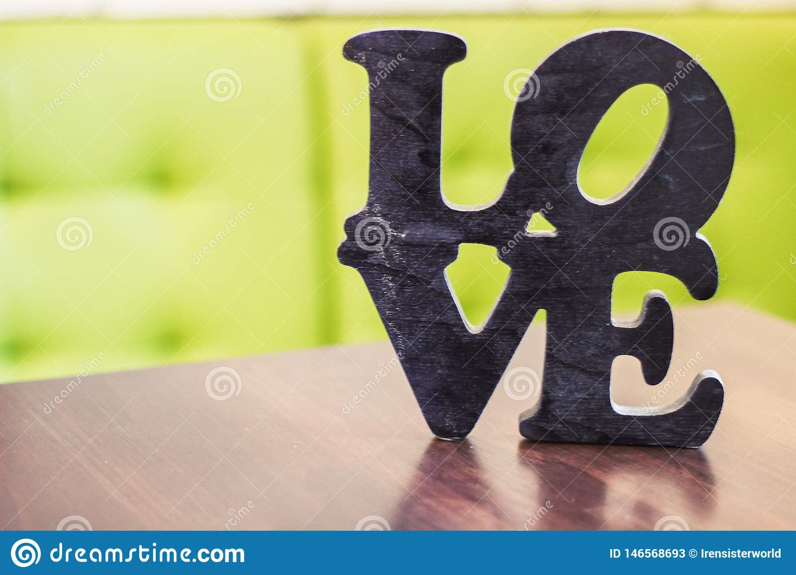 Word love wood table