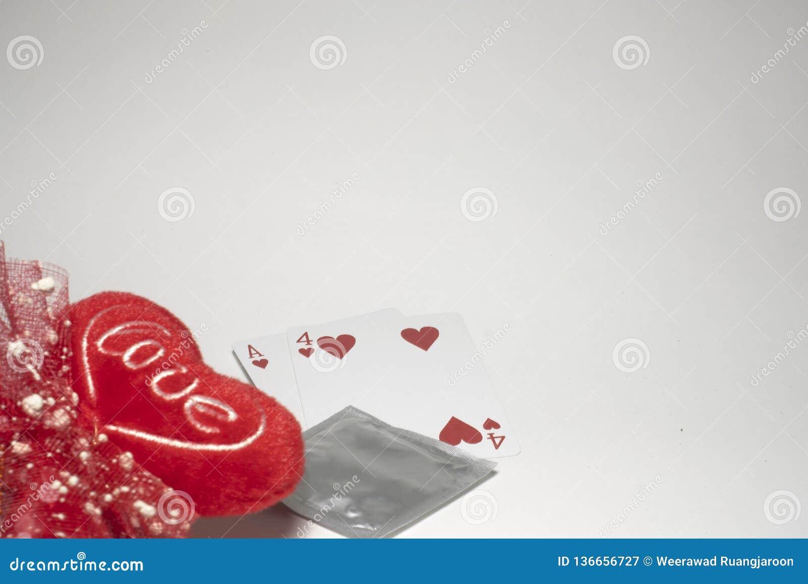 Valentines& x27; dia de s, número quatorze números do cartão, preservativo para impedir o conceito novo do amor do sexo seguro do