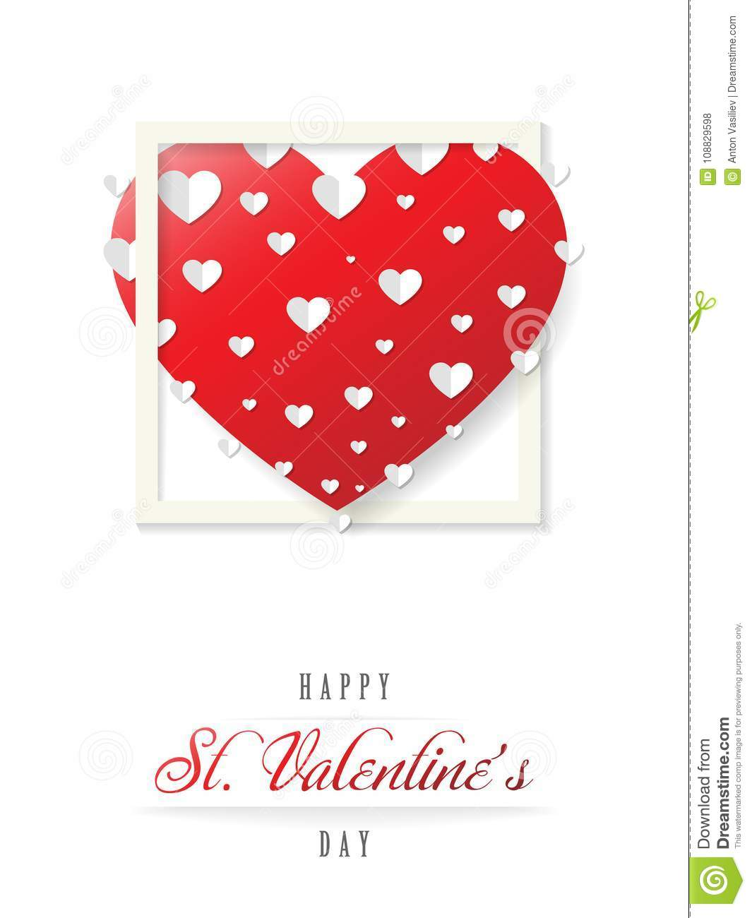 Valentines Greeting Card With A Big Red Heart Vector Stock Vector