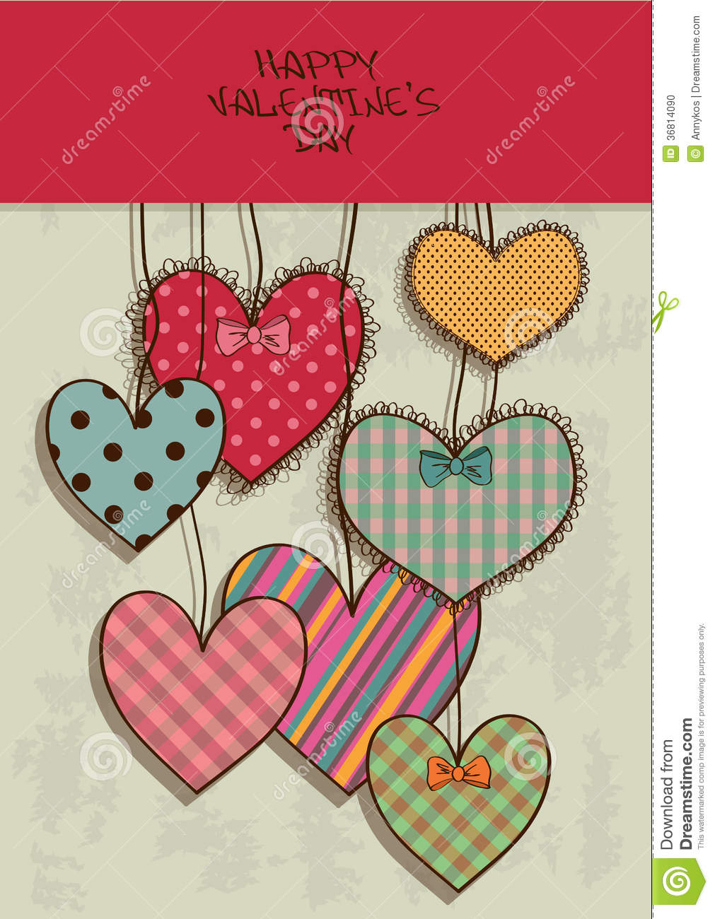 Valentines greeting card with scrapbook hearts stock vector download comp m4hsunfo