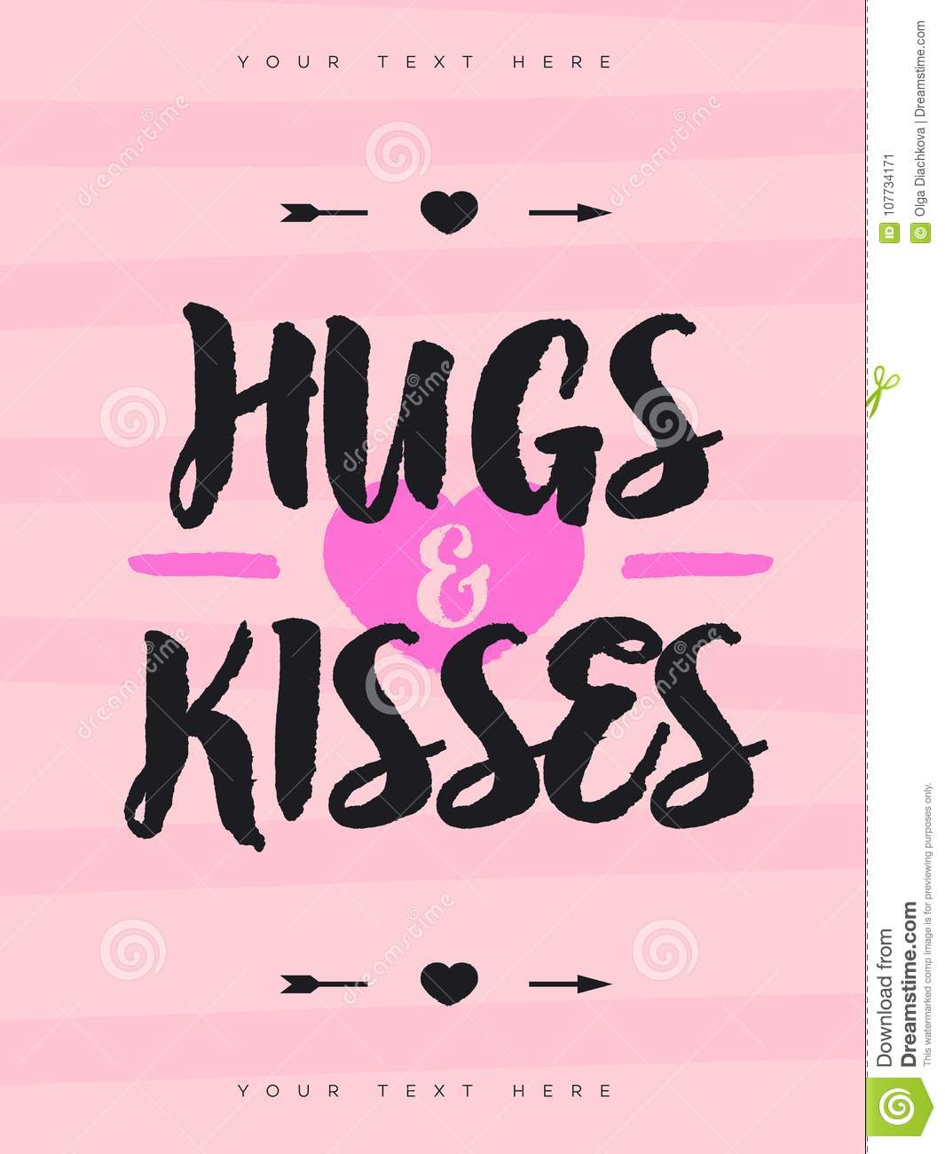 Valentines Greeting Card With Sign Hugs And Kisses Symbol Of Heart