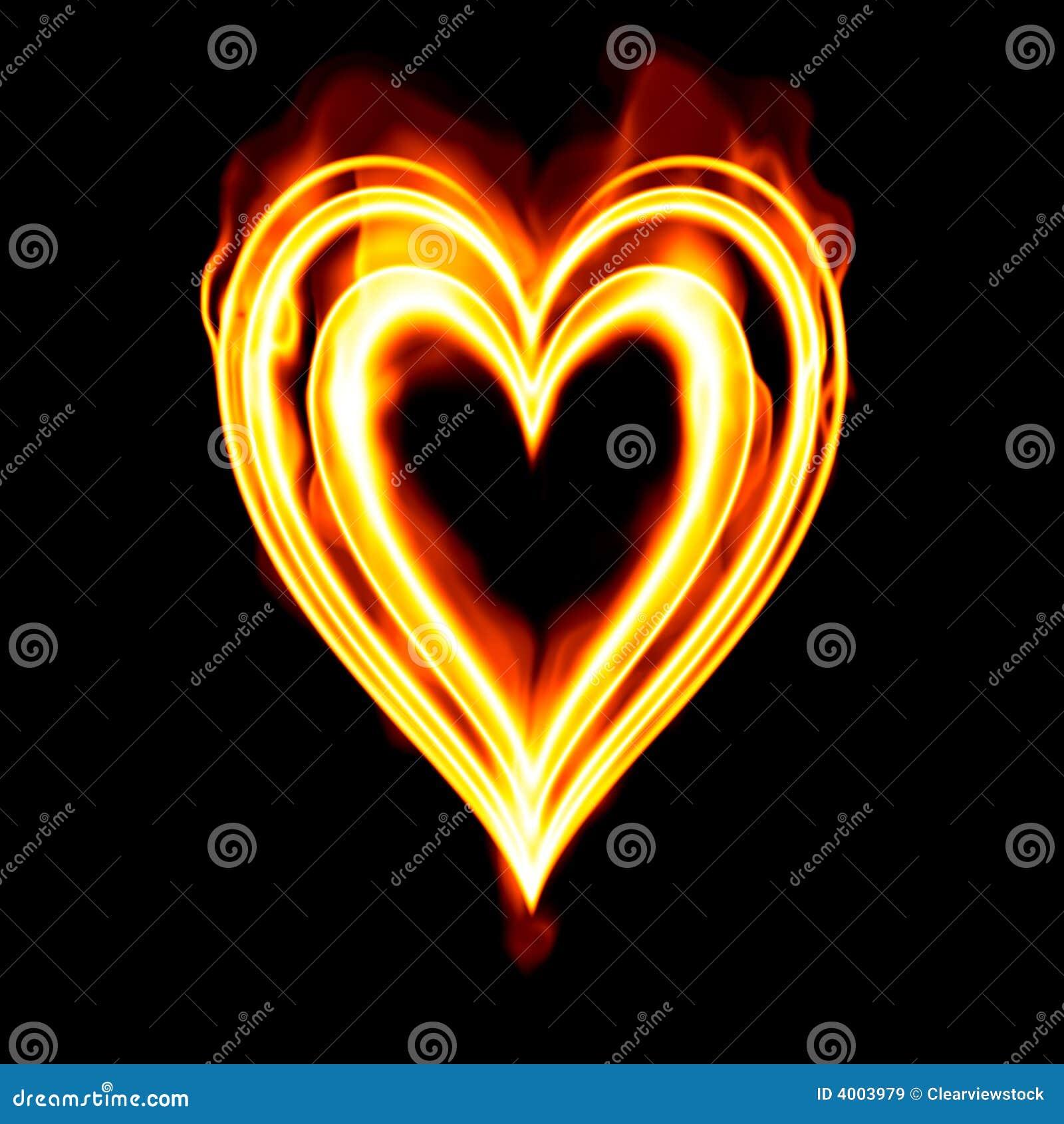 Burning Valentine Heart Fire Stock Image - Image: 3873911