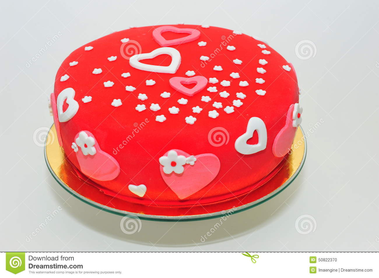 Valentines Hearts And Flowers Cake Stock Photo Image Of Birth