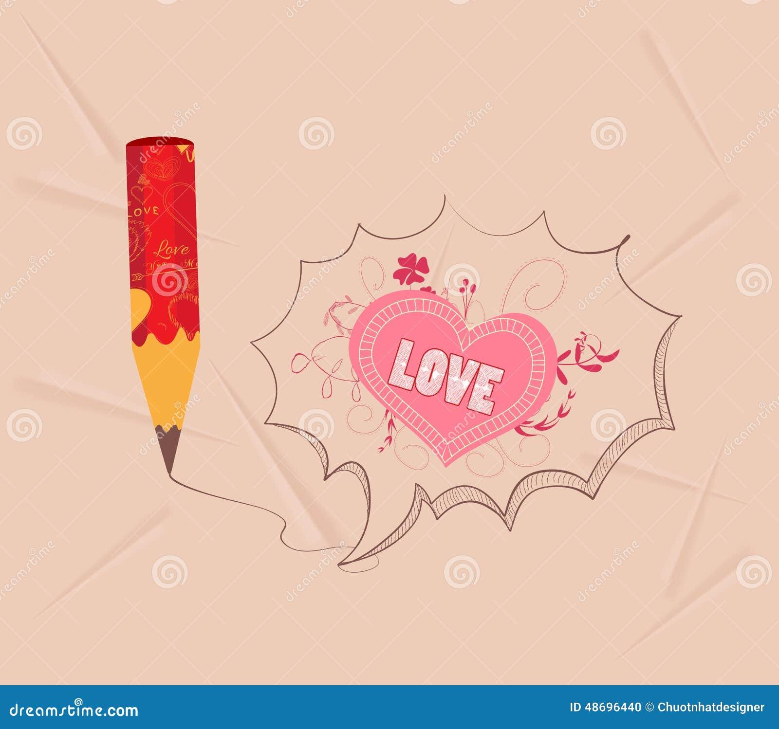 Romantic heart pencil drawings