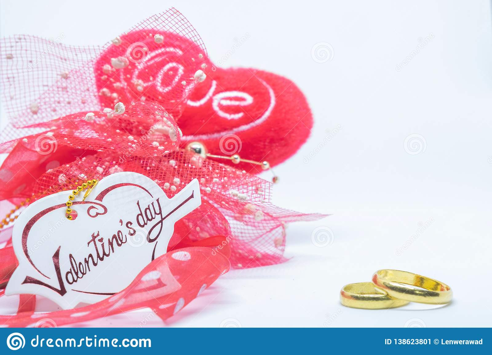Valentines`s day, heart card love and ring on white background.