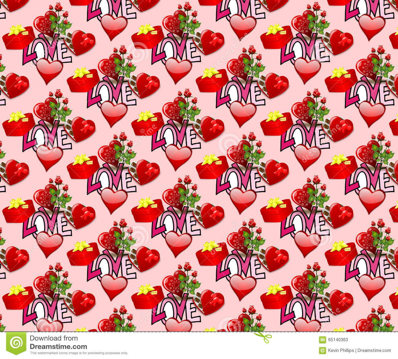 Valentines Seamless Background Wallpaper Stock Illustration
