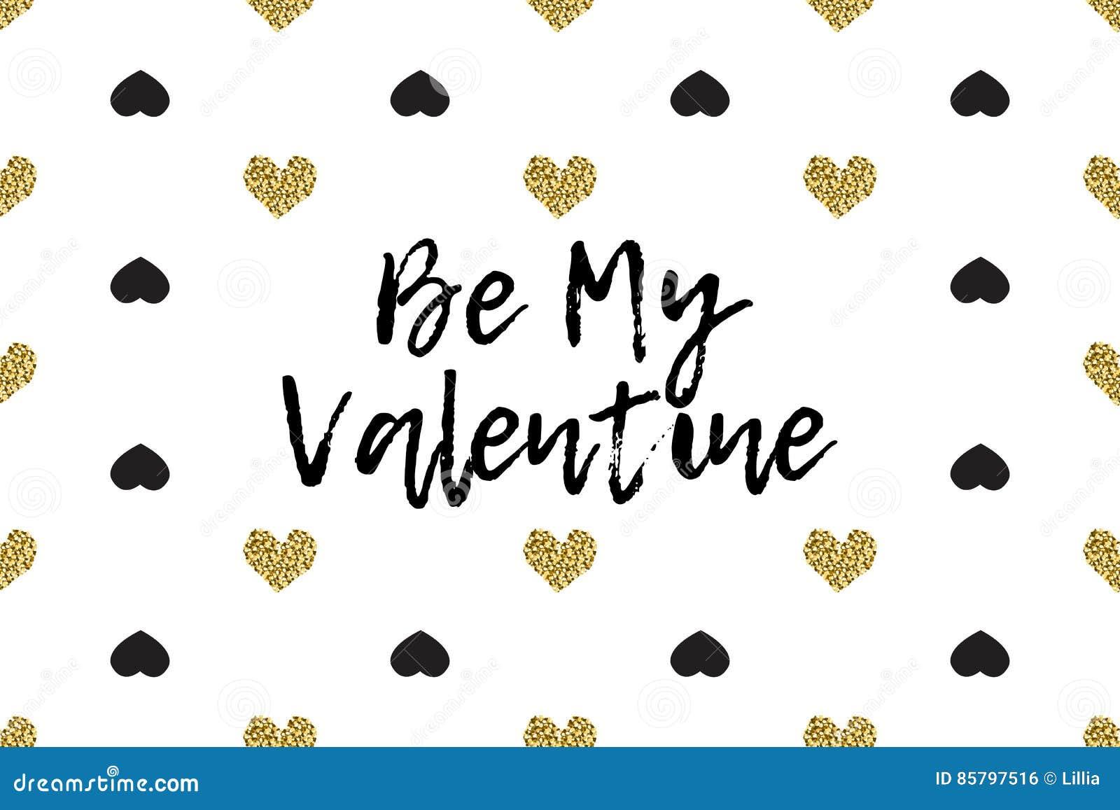 Valentinhälsningkort med text, svart och guldhjärtor