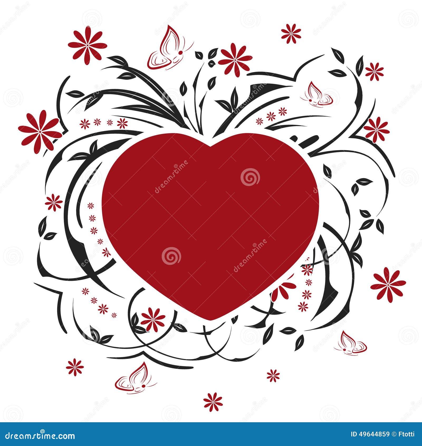 Valentinsgrüße Herz, Schmetterlinge Und Blumenmuster